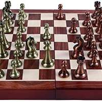 Agirlgle International Chess Set with Folding Wooden Chess Board