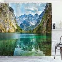 Obersee Mountain Lake Shower Curtain