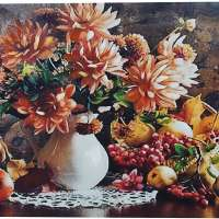 Fall Flower and Fruit Bouquet Wall Art Print