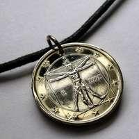 2009 Italy Euro coin pendant Vitruvian Man Leonardo da Vinci Rome Vitruvius