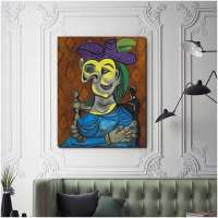 Pablo Picasso Woman Sitting Blue Dress Canvas Painting