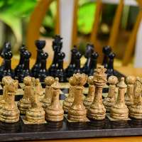 Radicaln Handmade Black and Coral Full Marble Chess