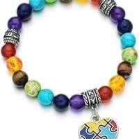 Pdouself Puzzle Piece Autism Autistic Bracelet 7 Chakra Beads