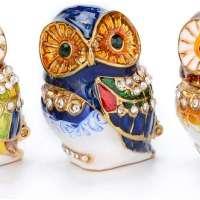 Three Owl Enameled Jewelry Box