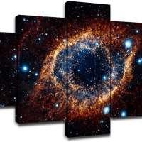5 Piece Space Nebula Canvas Prints