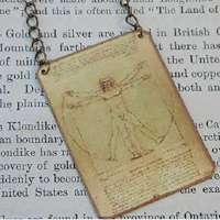 Da Vinci necklace art necklace Vitruvian Man