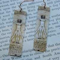 Art Earrings Leonardo da Vinci Vitruvian Man Mixed Media Jewelry