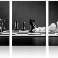 3 Panel Modern Black and White Chess Board Canvas Wall Art