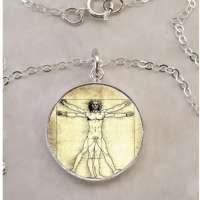 Vitruvian Man Leonardo da Vinci .925 Sterling Silver Necklace