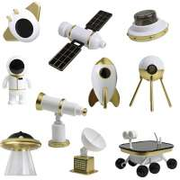 Outer Space Mission Playset - 10 Pc Action Rocket, Shuttle, Spaceship, Rover, Astronaut, Satellite Station