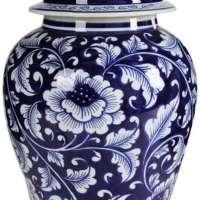 Benjara Floral Design Ginger Jar