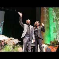 Stephen and Annette Wiltshire on stage at PINC
