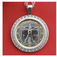 2002 Italy One Euro BU Unc Coin Solid 925 Sterling Silver Necklace NEW - Human Body Drawing by Leonardo da Vinci
