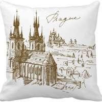 Prague Square Throw Pillow