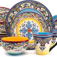 Spanish Floral Design Dinnerware Set